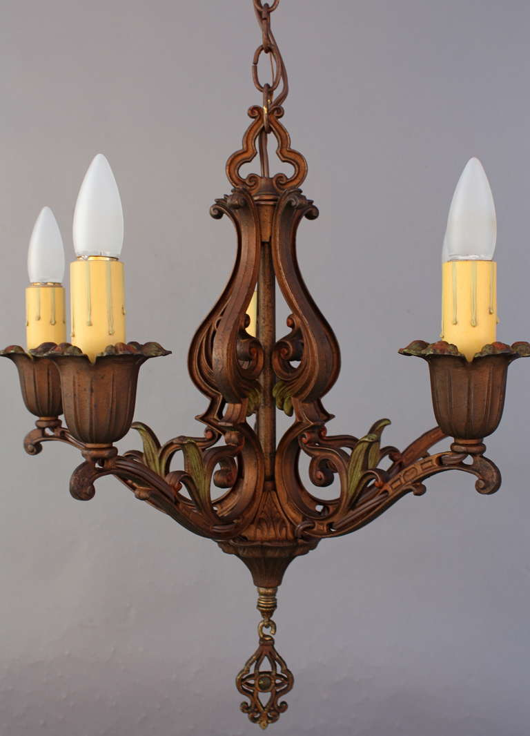 Classic spanish revival polychrome chandelier for sale at for Spanish revival lighting