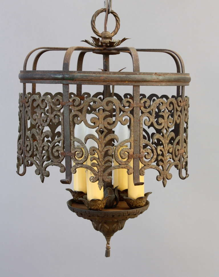 Classic Spanish Revival Chandelier With Cast Filigree At