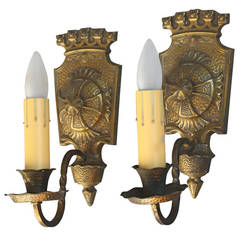 Antique Pair of Spanish Revival Sconces