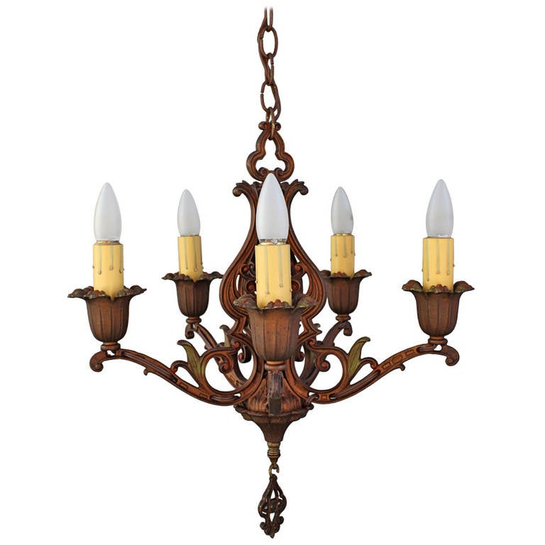 Classic Spanish Revival Polychrome Chandelier For Sale At