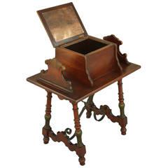 1920s Iron Walnut Trestle With Box Cabinet