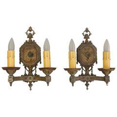 Pair of 1920s Double Antique Sconces