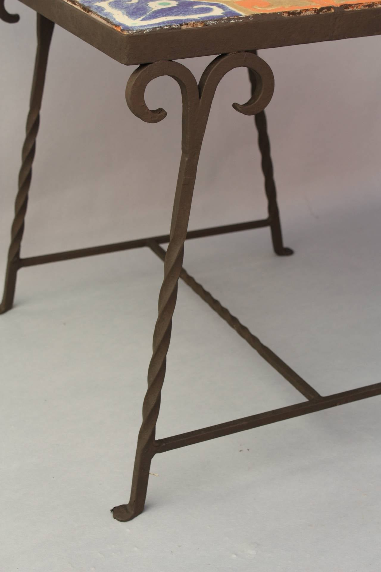 Rancho Monterey Antique Early California Tile Table In Iron Base For