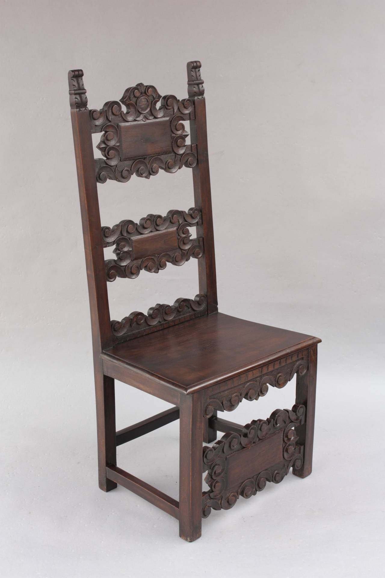Set of Four Carved Spanish Revival Chairs For Sale at 1stdibs