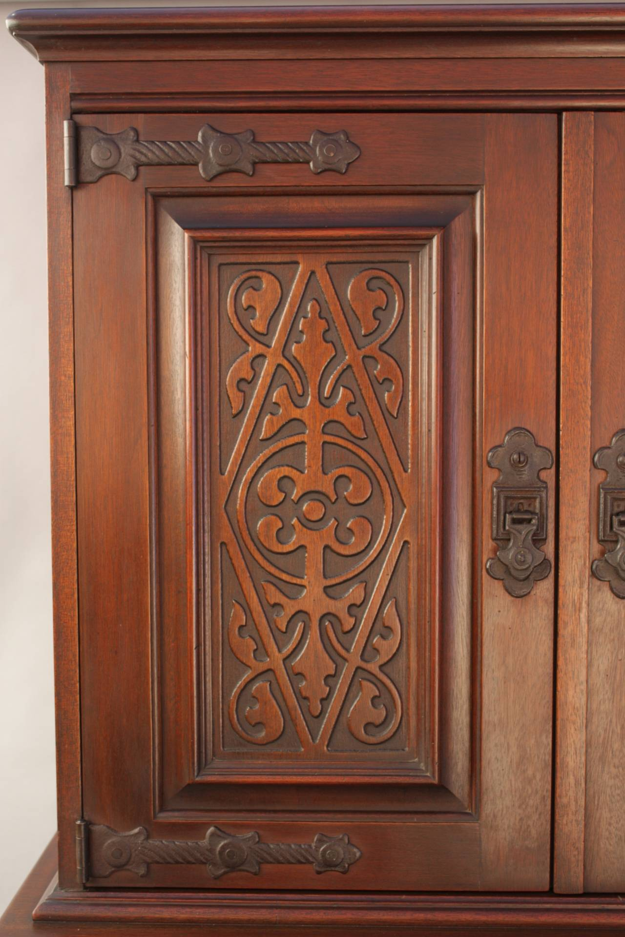 Walnut carved 1920s cabinet with elaborate hardware at 1stdibs for Carved kitchen cabinets