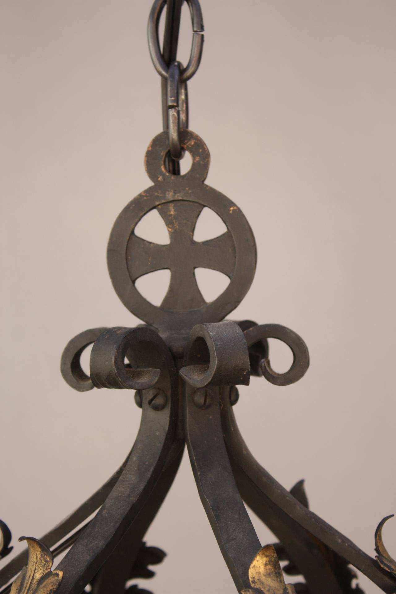 wrought iron 1920s large pendant with six lights at 1stdibs. Black Bedroom Furniture Sets. Home Design Ideas