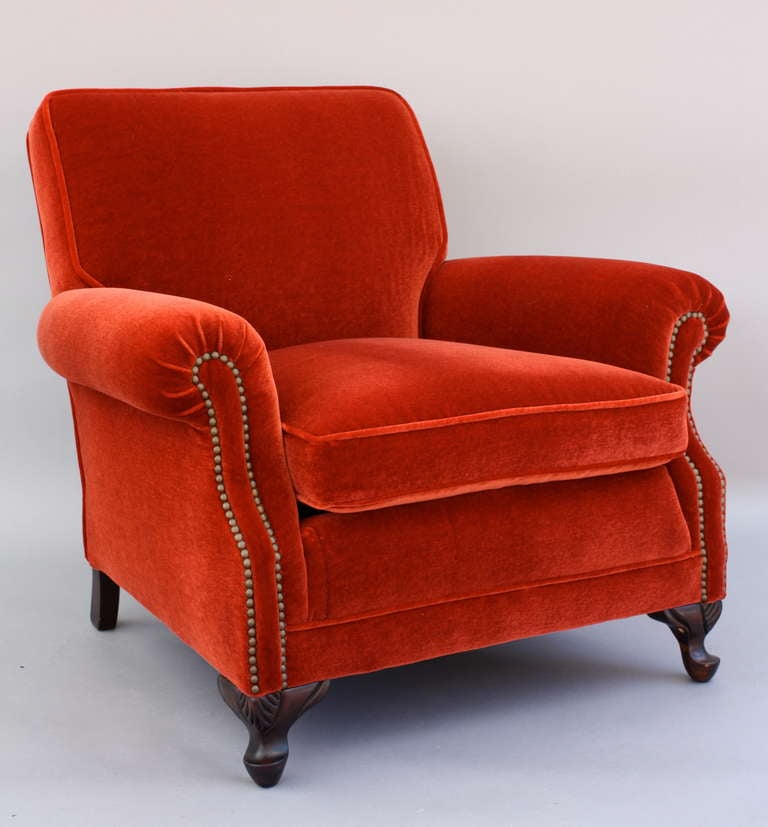 Plush Armchair C. 1920u0027s Newly Upholstered In A Rich Crimson Mohair With  Gracefully Curved Arms