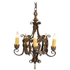 Vintage 1920s Chandelier with Acanthus Details