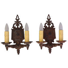 Vintage Pair of Original 1920s Double Sconces