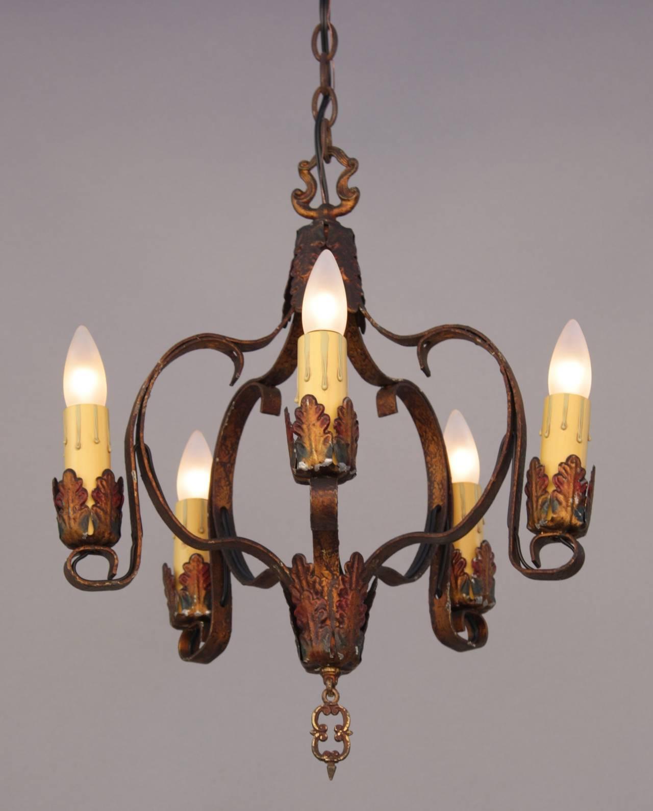 Items Similar To Lighting Rustic Chandelier Vintage 1920 S: Antique Five-Light Polychrome Spanish Revival Chandelier