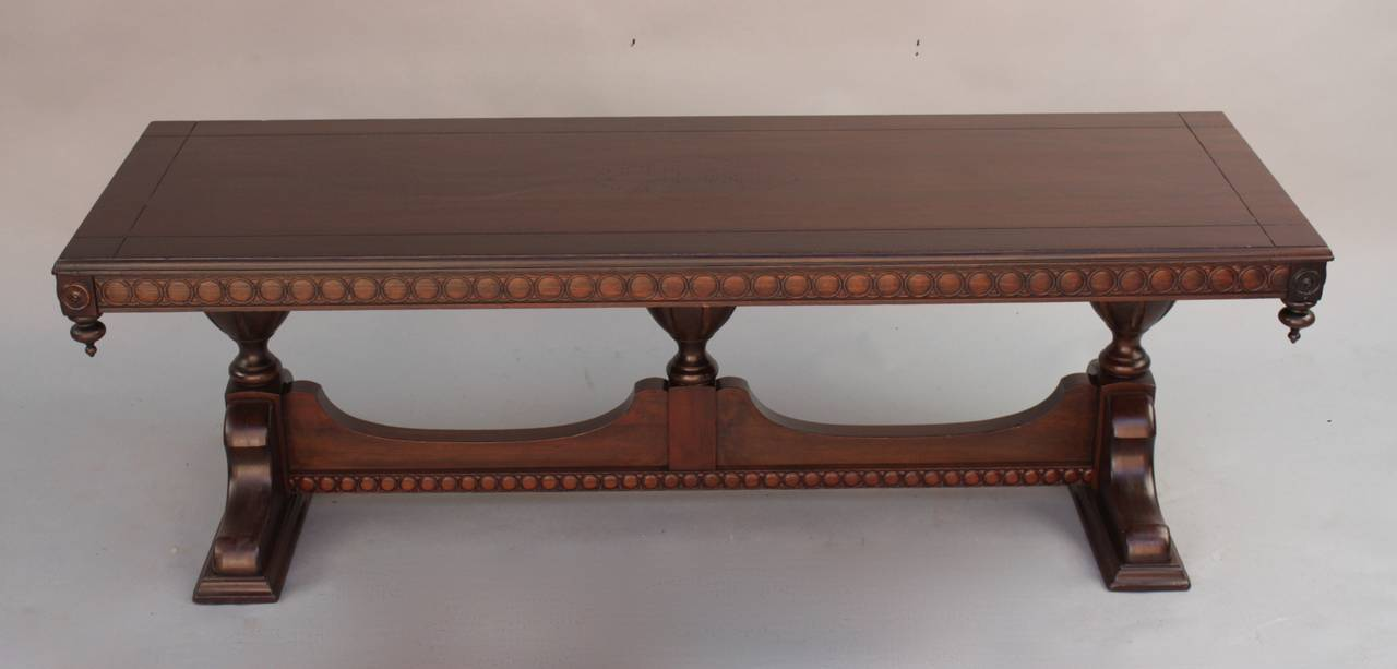 vintage 1920s rectangular walnut coffee table, spanish revival at