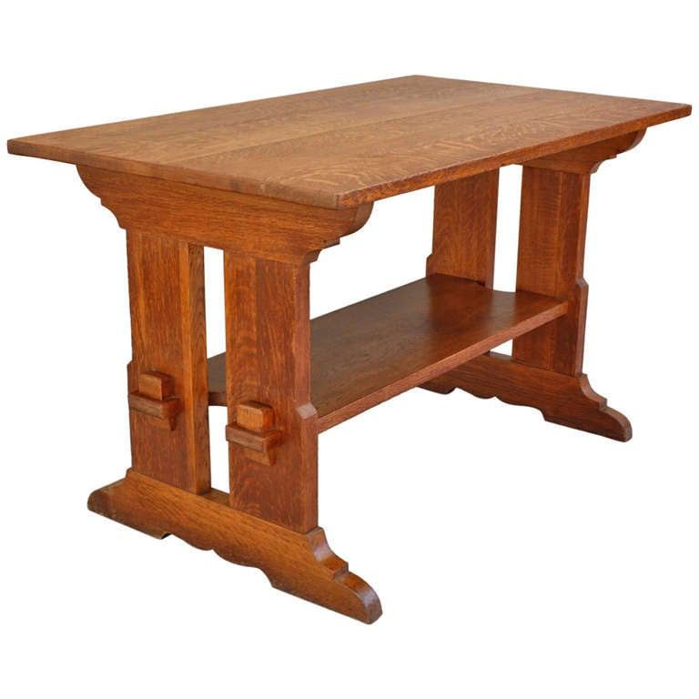 Arts and crafts trestle table at 1stdibs for Arts and craft tables