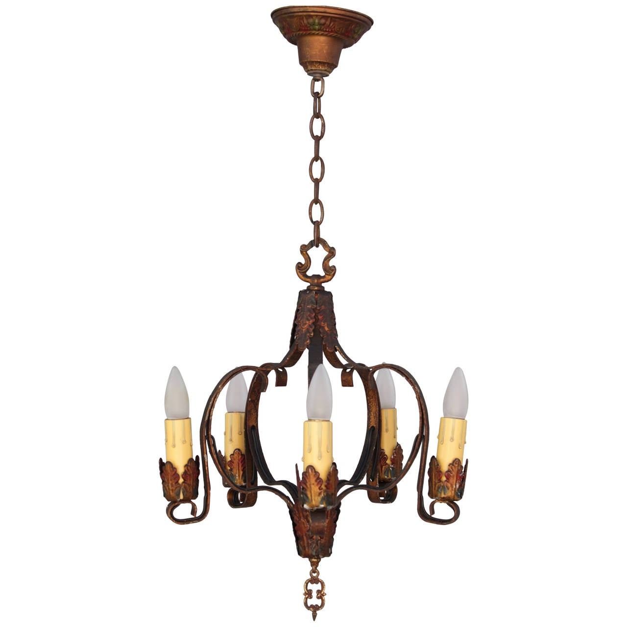 Antique Five Light Polychrome Spanish Revival Chandelier
