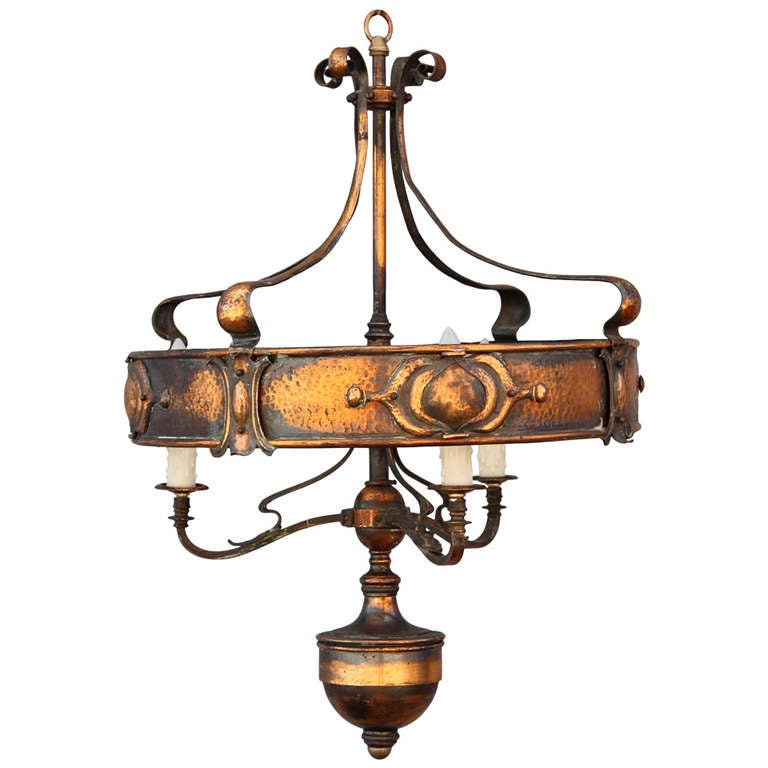 Handsome art nouveau chandelier at 1stdibs for Chandelier art nouveau