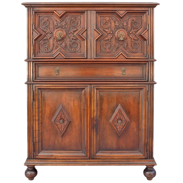 Beautifully carved walnut cabinet at 1stdibs for Carved kitchen cabinets
