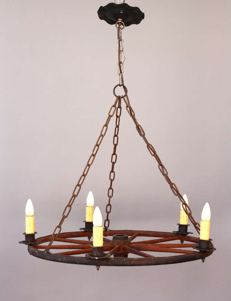Classic vintage wagon wheel chandelier at 1stdibs - Lighting and chandeliers ...