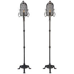 Exceptional Pair Of Floor Lamps With Leather Shades At 1stdibs