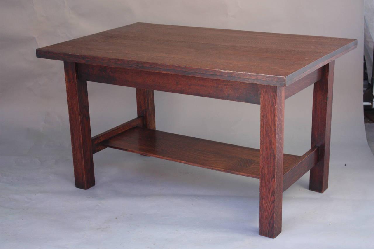 1910 arts and crafts oak library table at 1stdibs. Black Bedroom Furniture Sets. Home Design Ideas