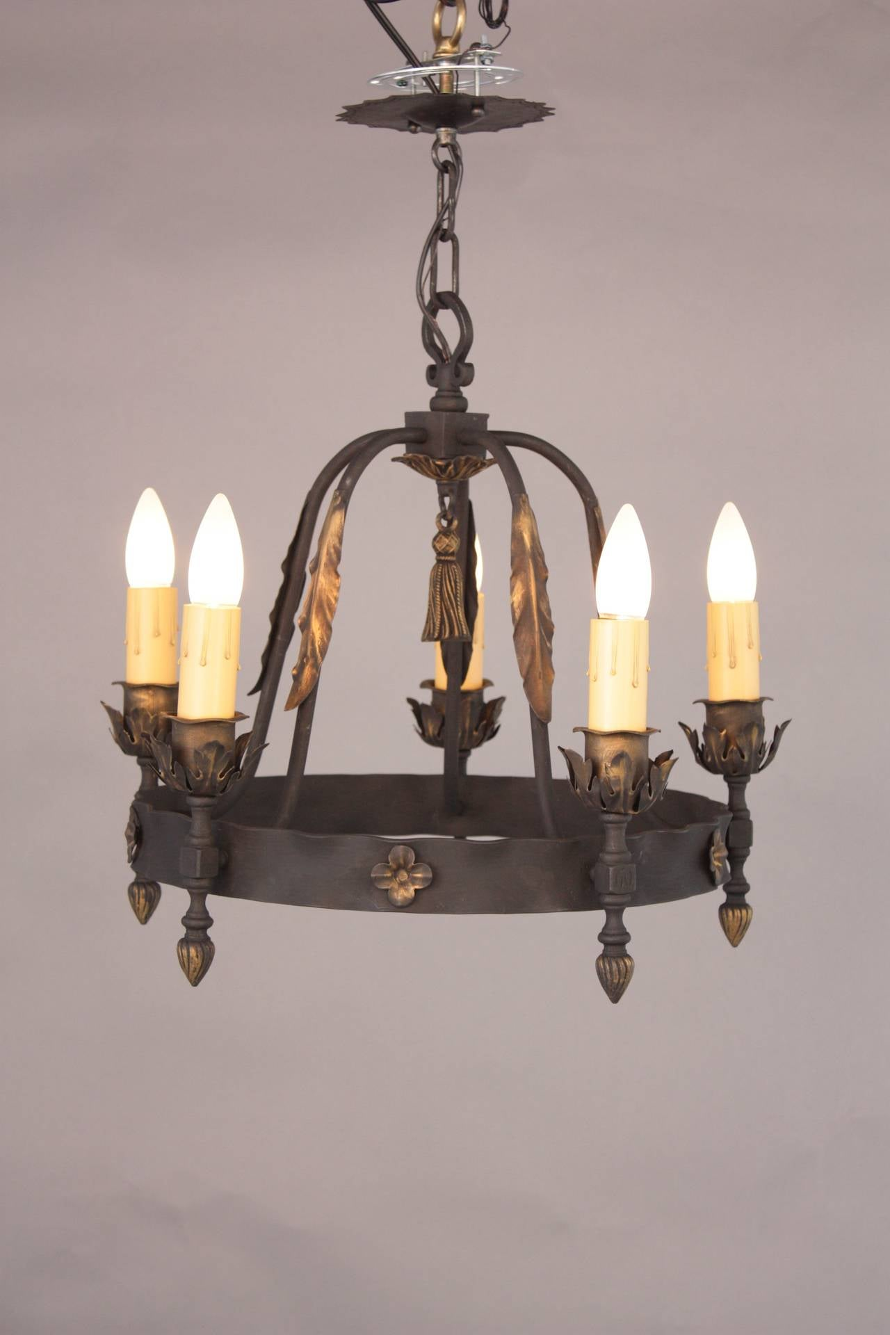 1920s Spanish Revival Chandelier With Five Lights At 1stdibs