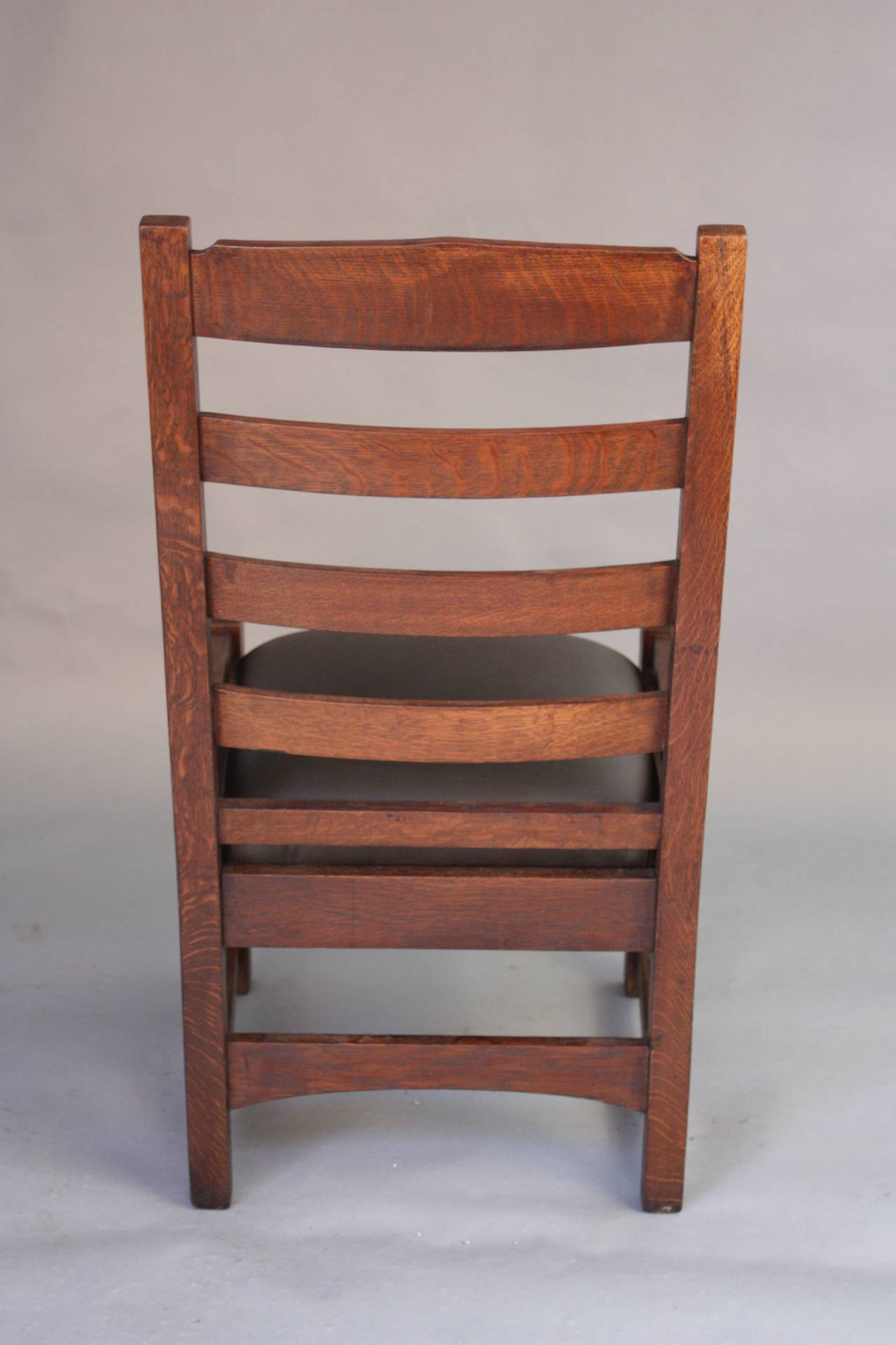 Early 20th Century 1910 Arts And Crafts Mission Oak Ladder Back Chair For  Sale