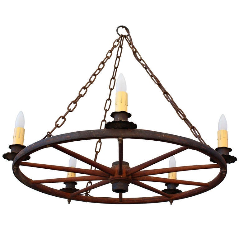 Wagon Wheel Light Chandelier: Classic Vintage Wagon Wheel Chandelier At 1stdibs