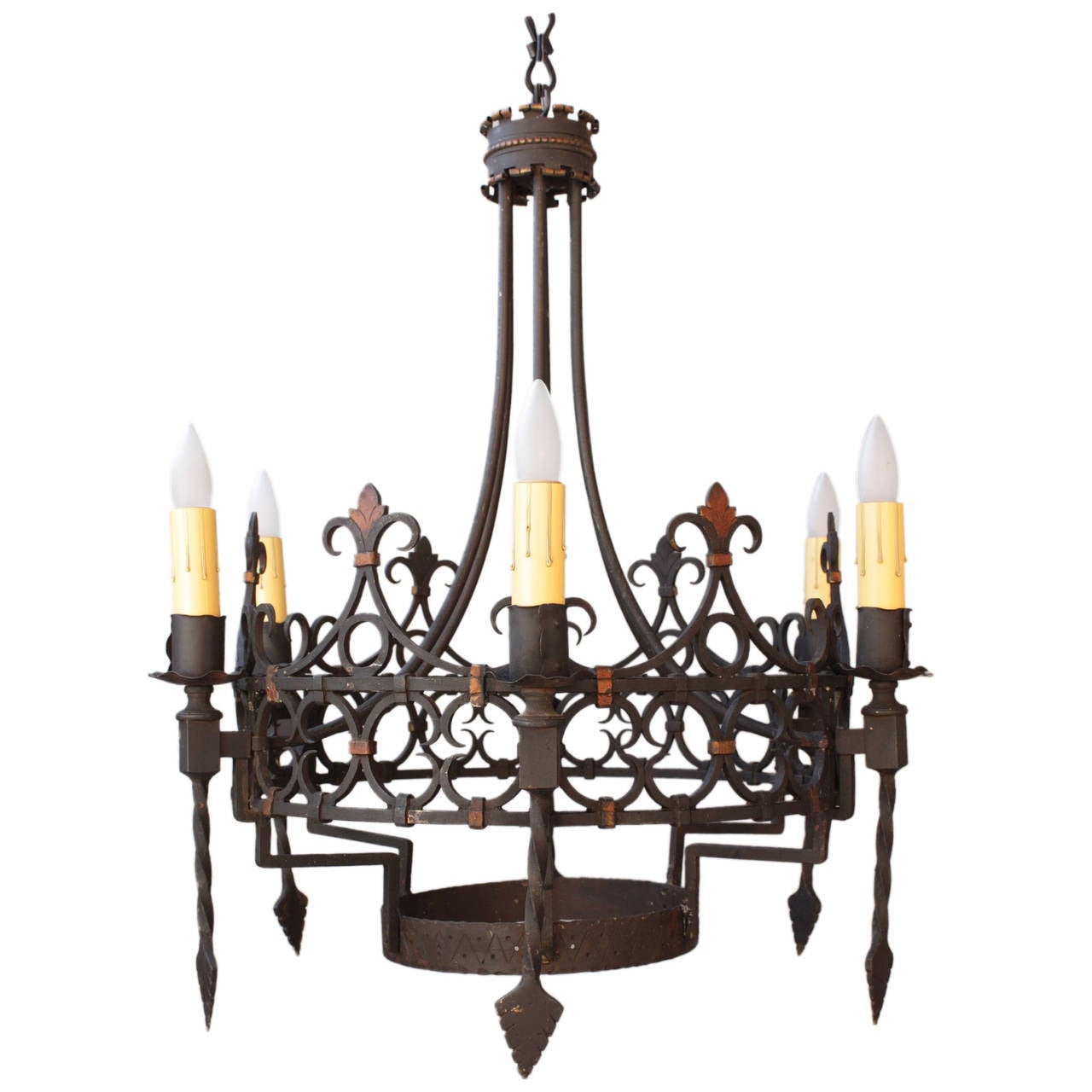 Hard to find larger scale spanish revival chandelier for Spanish revival lighting