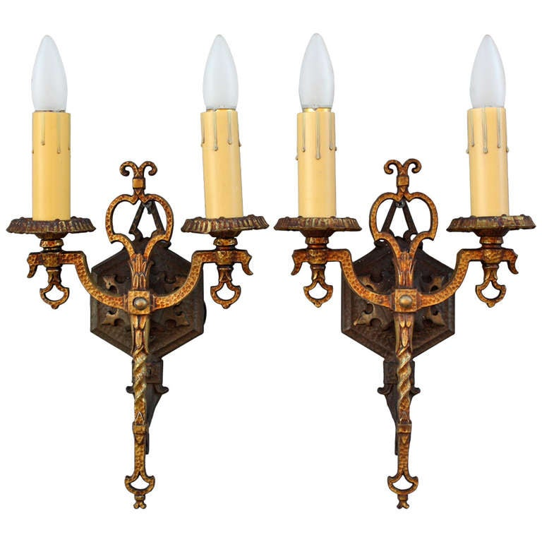Classic Pair Of Spanish Revival Double Sconces at 1stdibs
