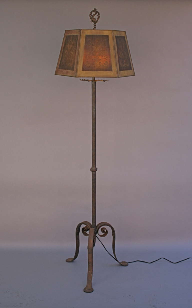 Wrought iron floor lamp with mesh shade at 1stdibs for Gold mesh floor lamp