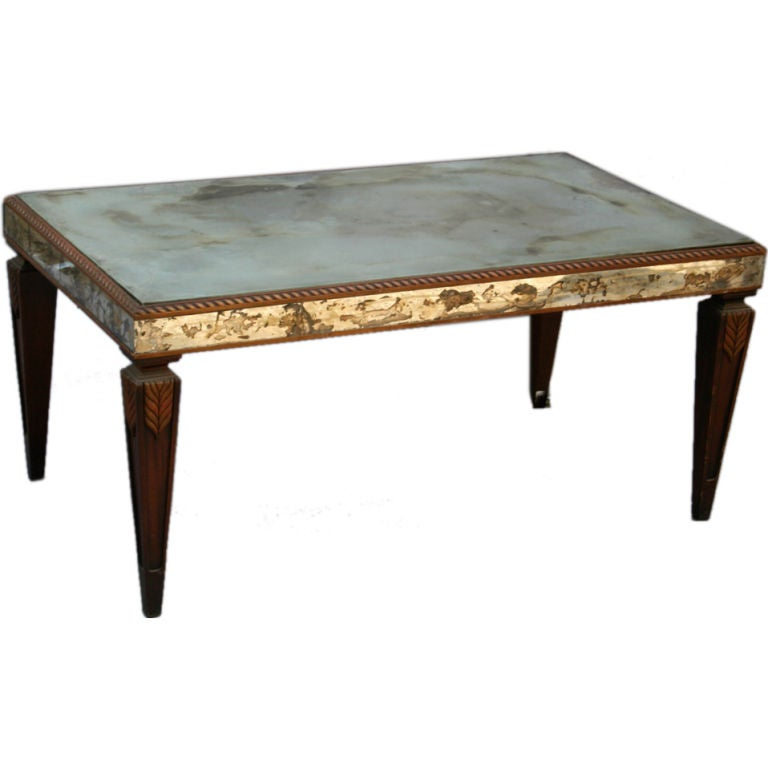 Vintage Mirrored Coffee Table with Wonderful Patina 1
