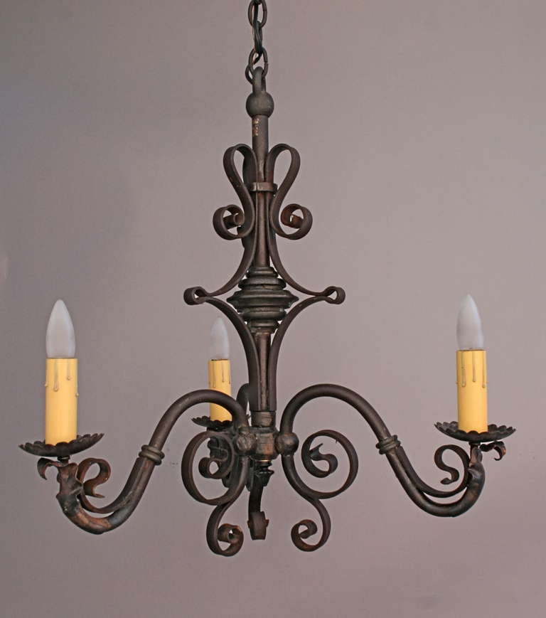 Simple 1920 39 S Wrought Iron Chandelier At 1stdibs