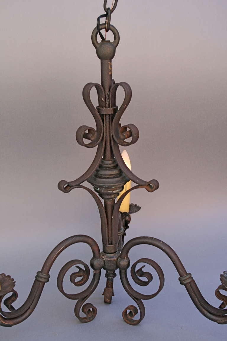 Simple 1920 S Wrought Iron Chandelier At 1stdibs