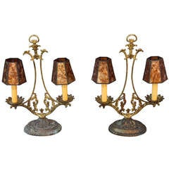 Pair Of Finely Casted Brass Lamps