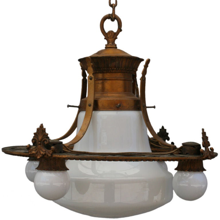 1920 S School House Industrial Glass Globe Chandelier At