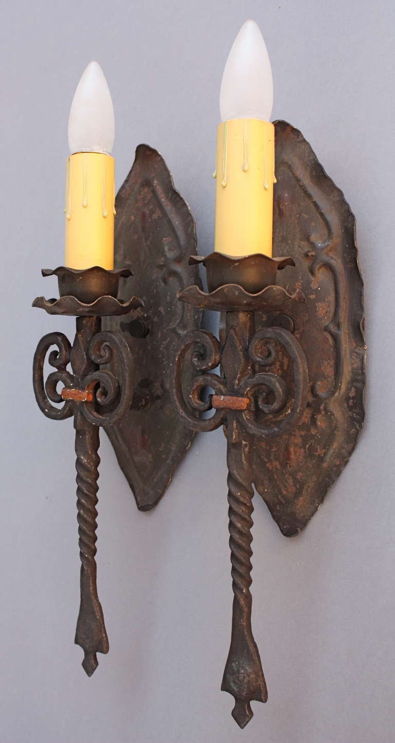 Wall Sconces En Espanol : 1920s Pair Of Single Spanish Revival Sconces at 1stdibs