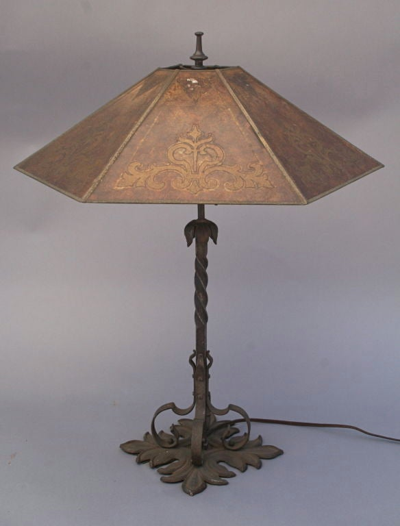 1920's Spanish Revival Table Lamp with Mica Shade image 2