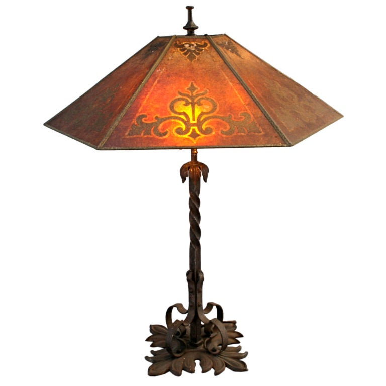 1920's Spanish Revival Table Lamp with Mica Shade