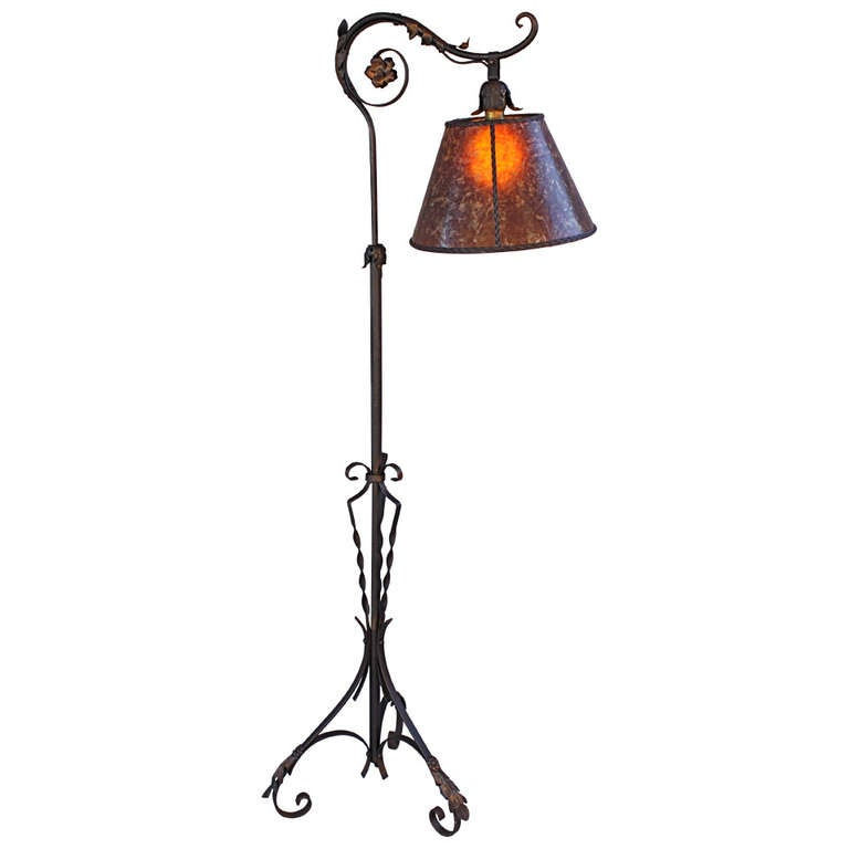 1920s Wrought Iron Bridge Lamp With Amber Mica Shade At