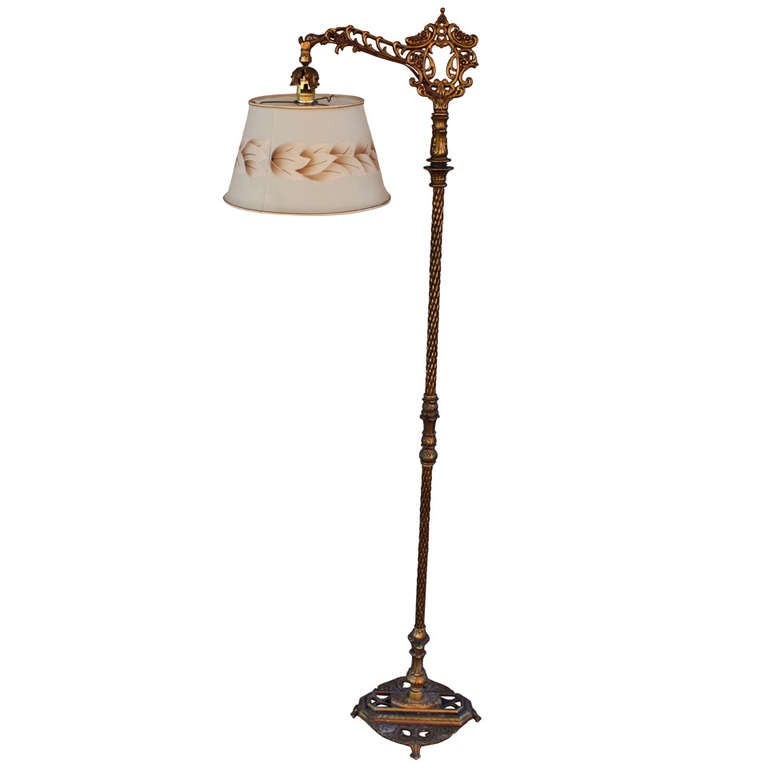 1920 S Bridge Floor Lamp With Adjustable Shade For Sale At