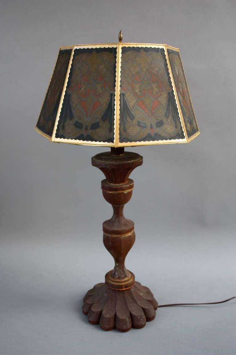 tall table lamp with fantastic shade the base has a rusty finish and. Black Bedroom Furniture Sets. Home Design Ideas