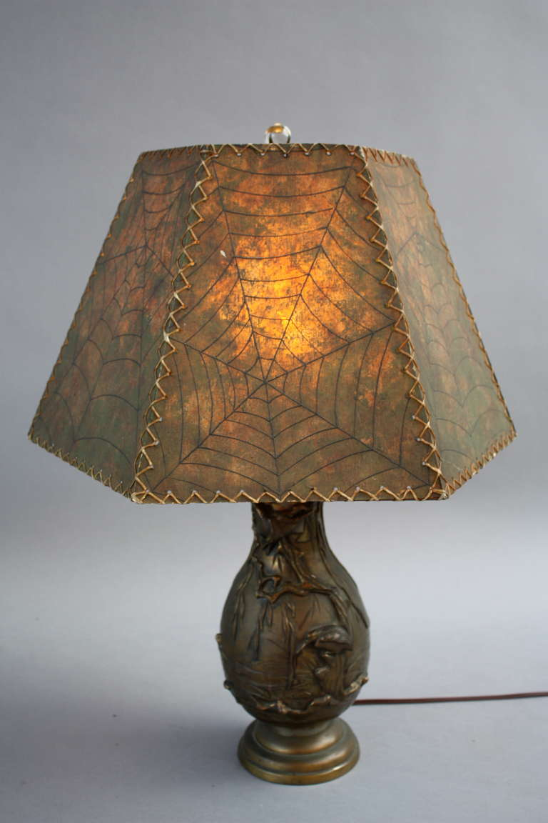 Early 1900s Japanese Lamp With 1920 S Lamp Shade At 1stdibs