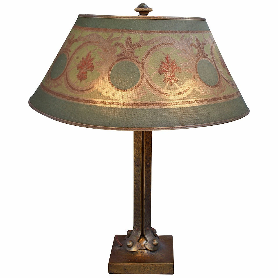Turn Of The Century Brass Lamp With Metal Shade For Sale