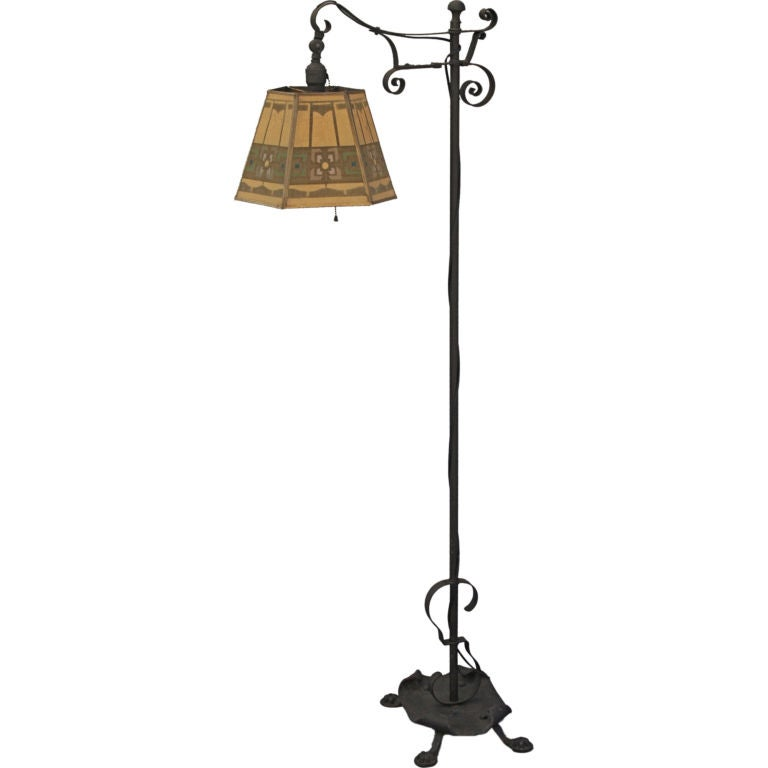 1920 39 s wrought iron bridge lamp w metal mesh shade at 1stdibs. Black Bedroom Furniture Sets. Home Design Ideas