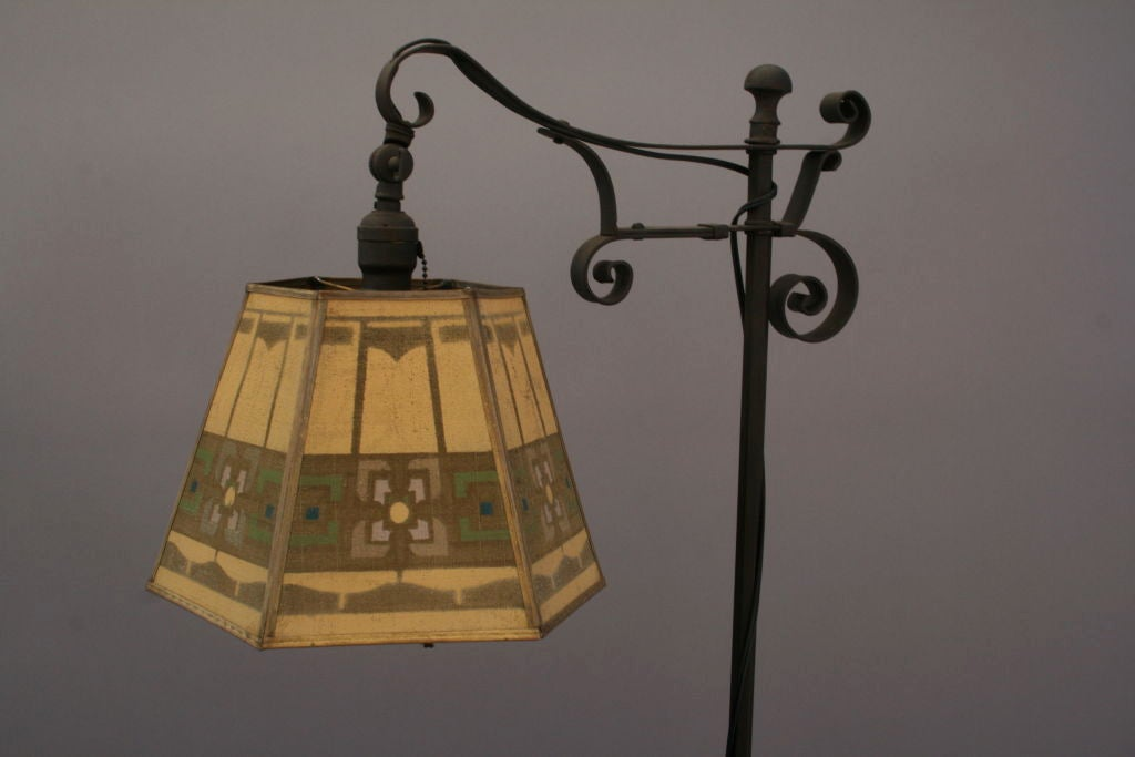 1920 S Wrought Iron Bridge Lamp W Metal Mesh Shade At 1stdibs