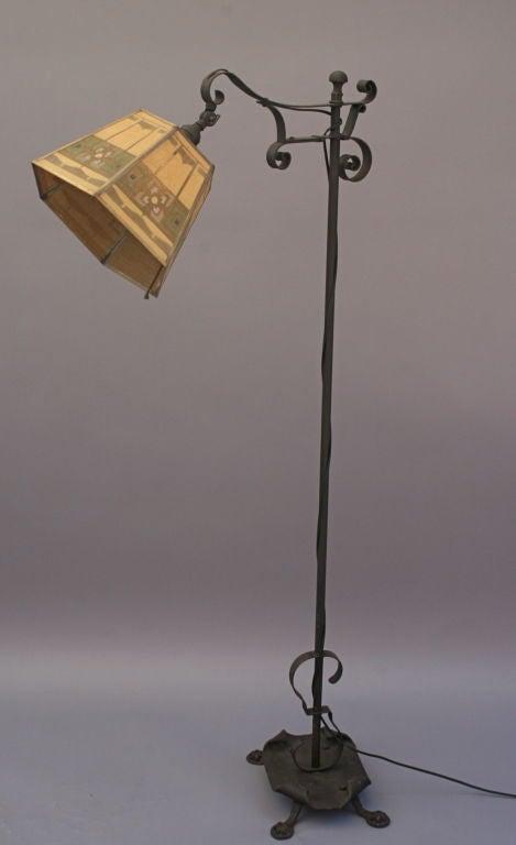 1920 39 s wrought iron bridge lamp w metal mesh shade image 5. Black Bedroom Furniture Sets. Home Design Ideas