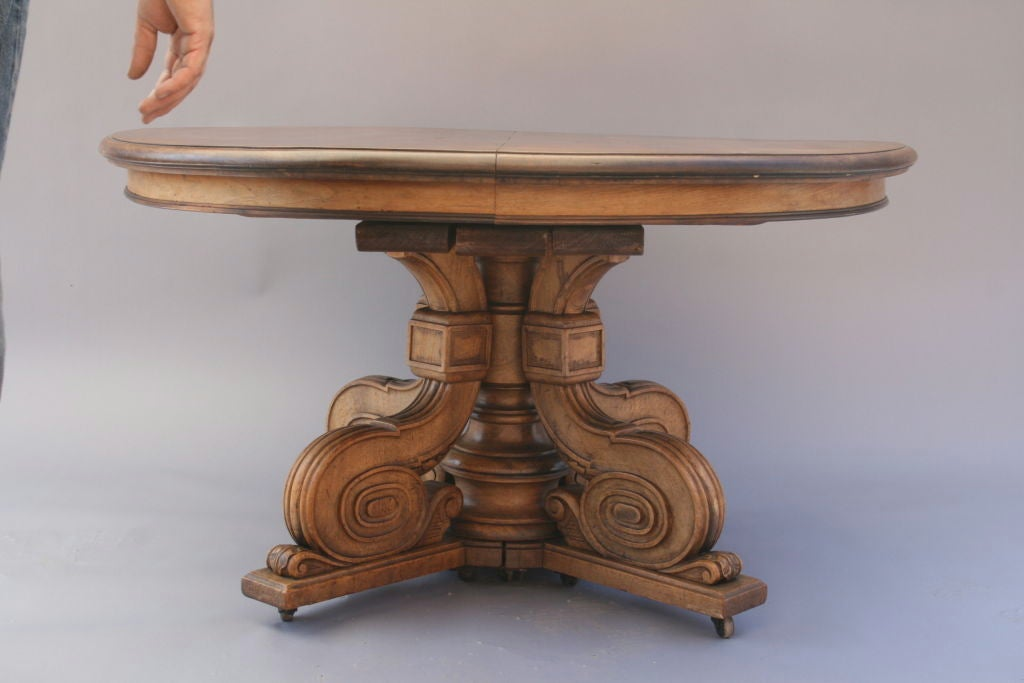 Oval Walnut Dining Table With Carved Pedestal Base At 1stdibs