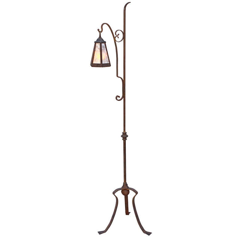 1920 39 s wrought iron floor lamp at 1stdibs. Black Bedroom Furniture Sets. Home Design Ideas