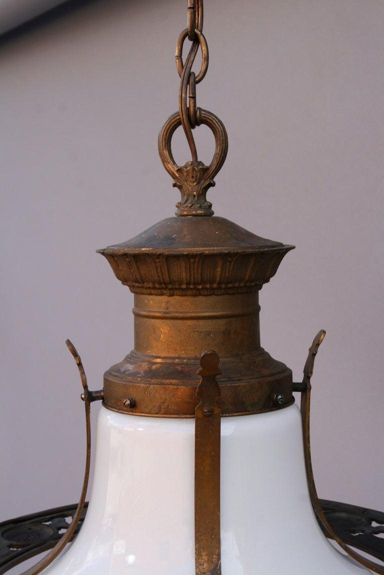 Antique 1920 S Decorative Bronze Light With Milk Glass