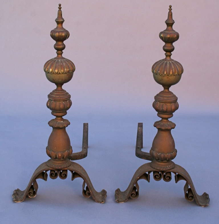 Unknown Vintage Spectacular Brass and Iron Andirons For Sale