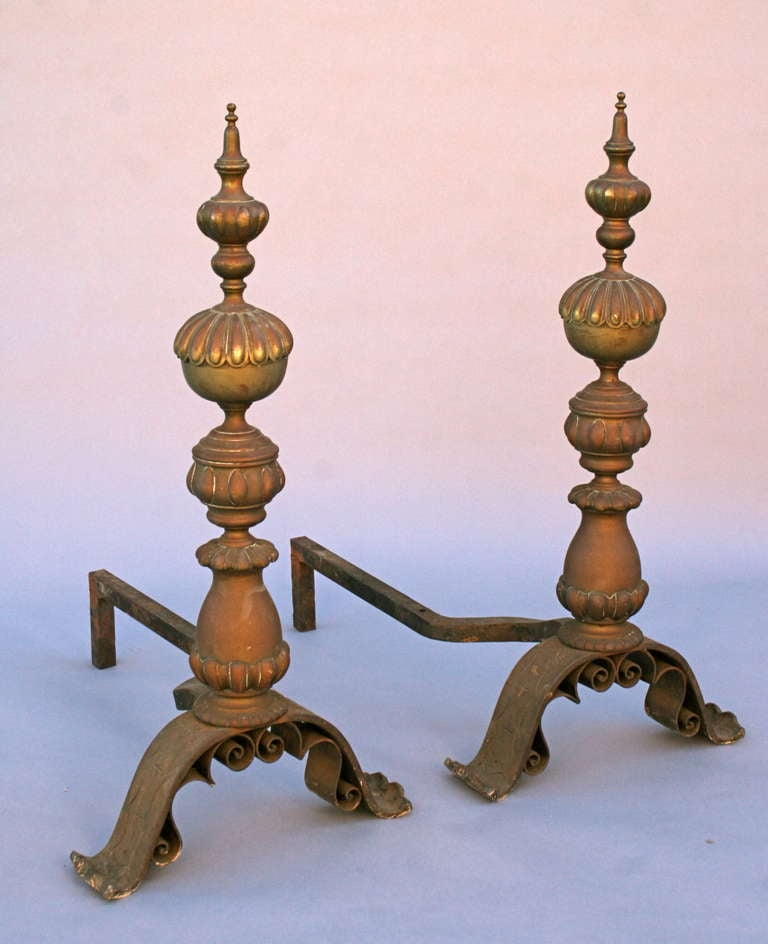 One of the finest pair of andirons we ever had. Incredible brass casting and incised iron work.