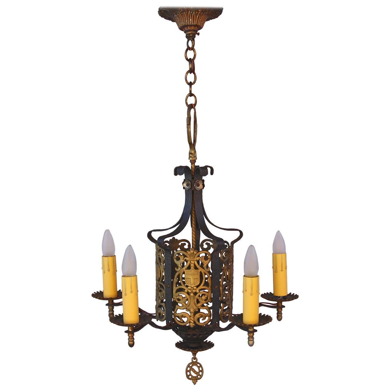 Items Similar To Lighting Rustic Chandelier Vintage 1920 S: Striking 1920s Cast Five-Light Chandelier For Sale At 1stdibs